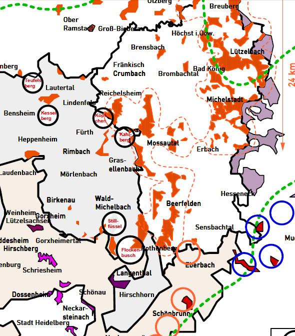 Die Karte der für den Windkraftausbau im Odenwald vorgesehenen Flächen. Für PDF Version auf die Karte klicken.